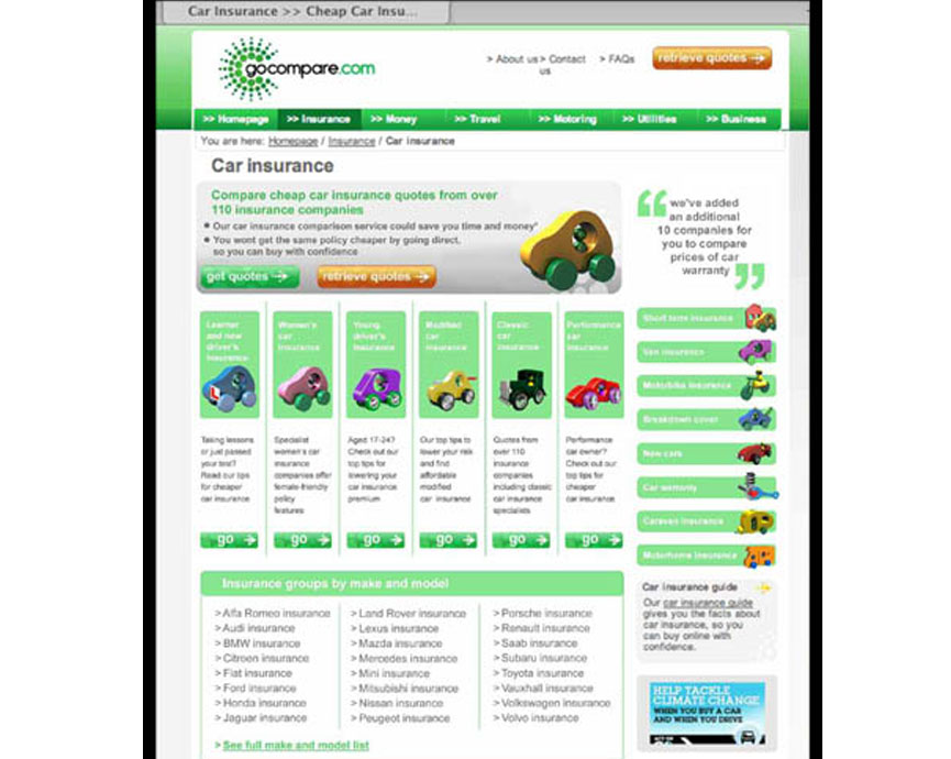Go Compare – website design and development