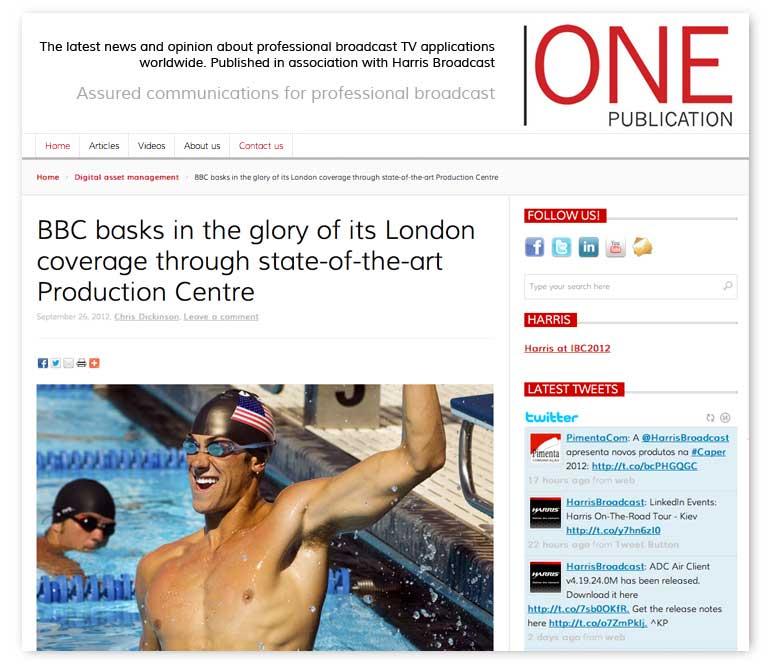One-publication website design, Harris Broadcast