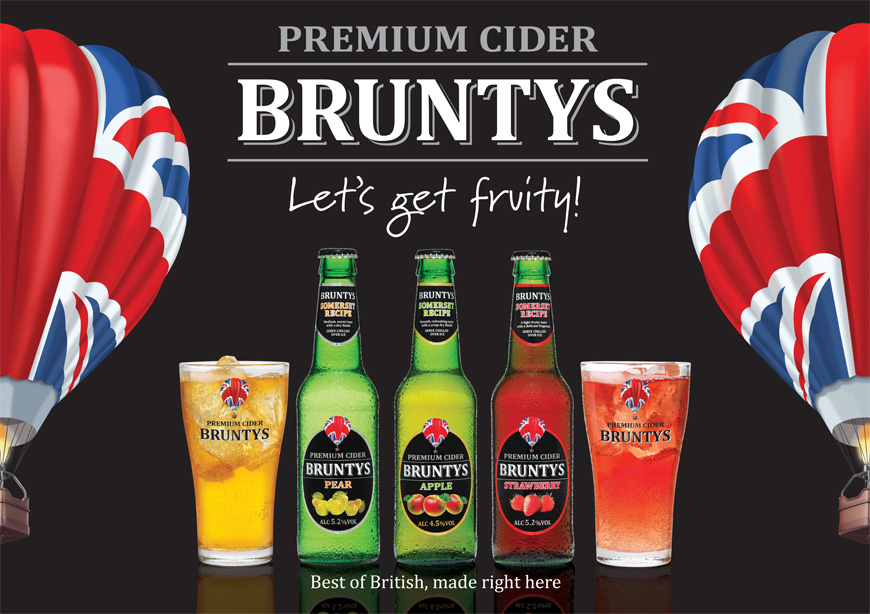 Bruntys – cider branding and point of sale